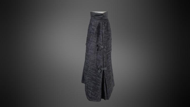 Sybil Connolly Vintage Evening Skirt in Sheer Black Linen