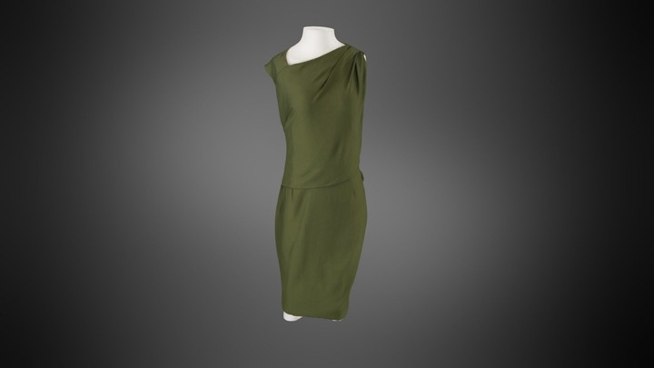Givenchy Draped Shift Dress in Olive Green